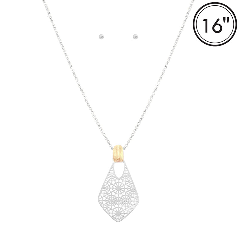 Delicate Lace Filigree Diamond Necklace