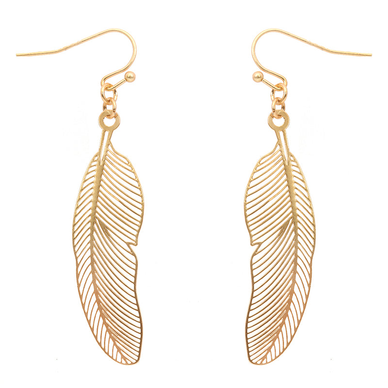 Delicate Matt Metal Feather Earrings