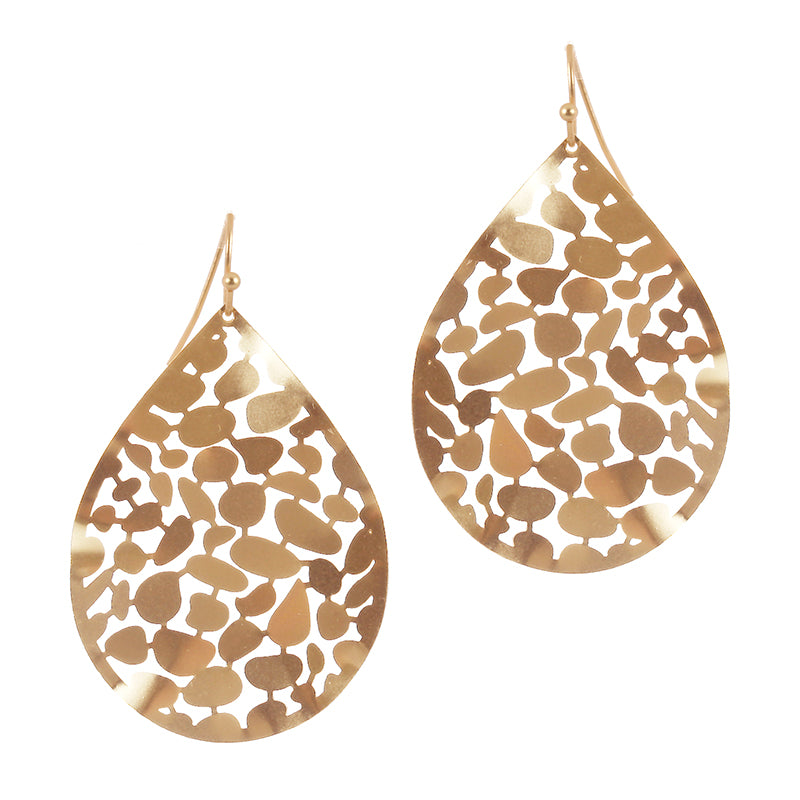 Textured Teardrop Leaf Earrings