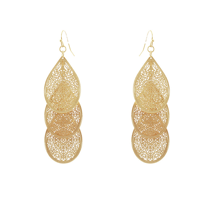 Delicate Filigree Layered Earrings