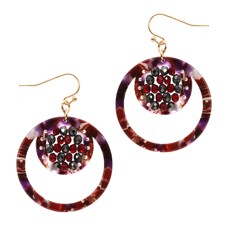 Beaded Tortoiseshell Drop Earrings