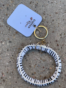 Hyde Key Ring- White Zebra