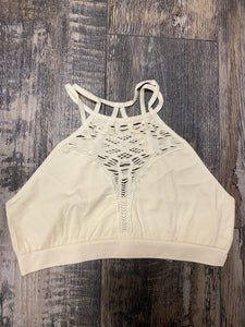 High Neck Bralette- Cream