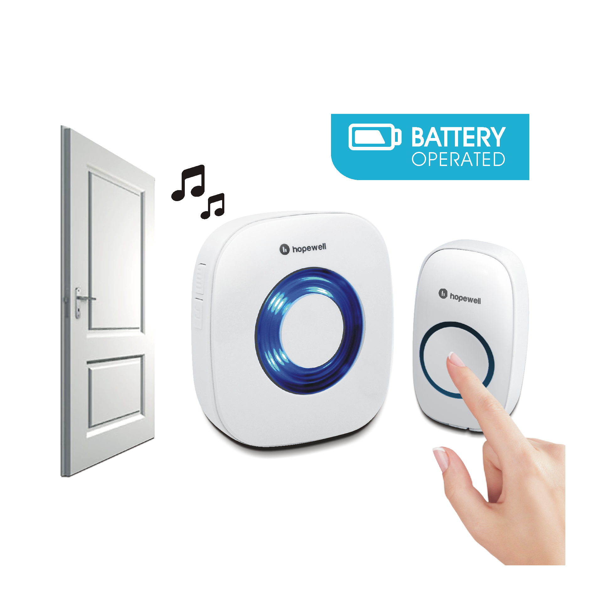 200m EXTRA Battery Operated Wireless Doorbell ( Twin Pack )