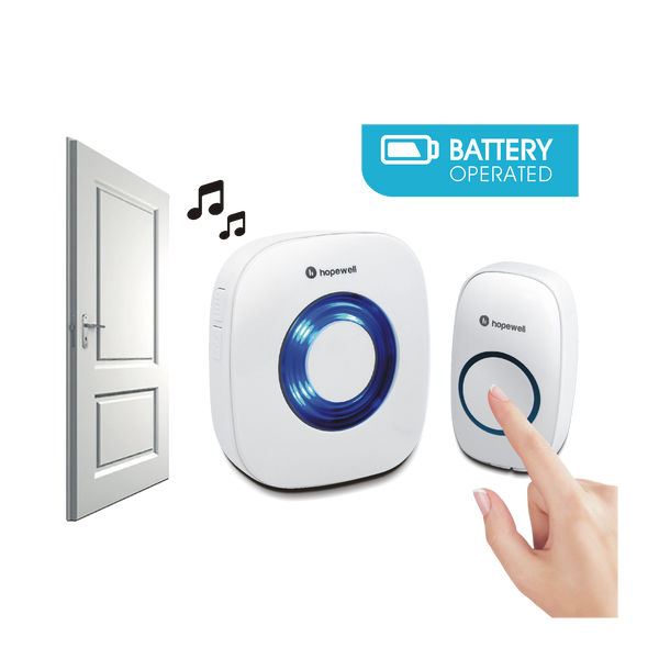 200m EXTRA Battery Operated Wireless Doorbell   [ Twin Pack ]