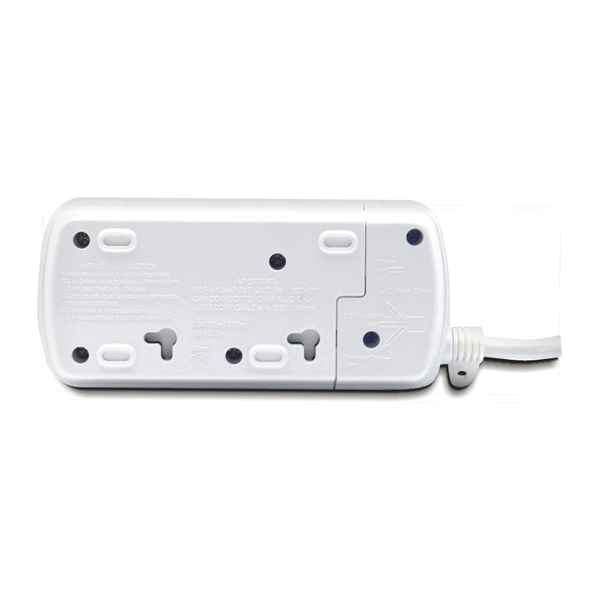 2-Way / 13A / 3m Illuminated Individual Switch Power Strip