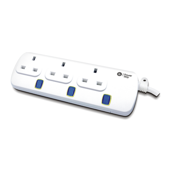3-Way / 13A / 3m Illuminated Individual Switch Power Strip