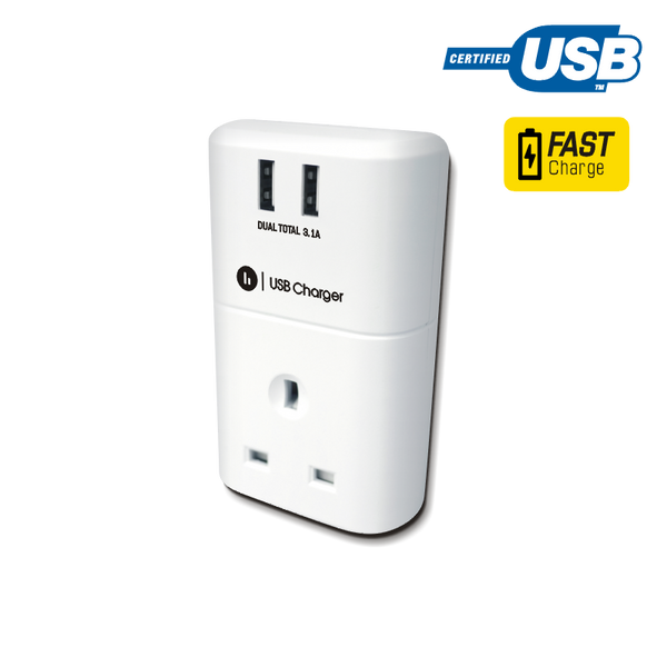 Plug-Through Dual USB Wall Charger
