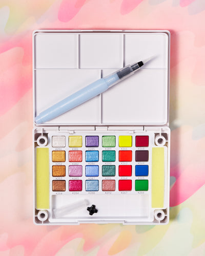 Sakura Koi Pan Watercolor Set of 24 - Metallic & Fluorescent