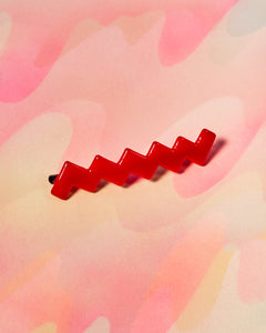 Thin Lines Barrette - Single Red Zigzag