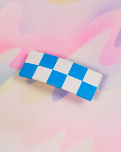 Checker Barrette - Blue & White