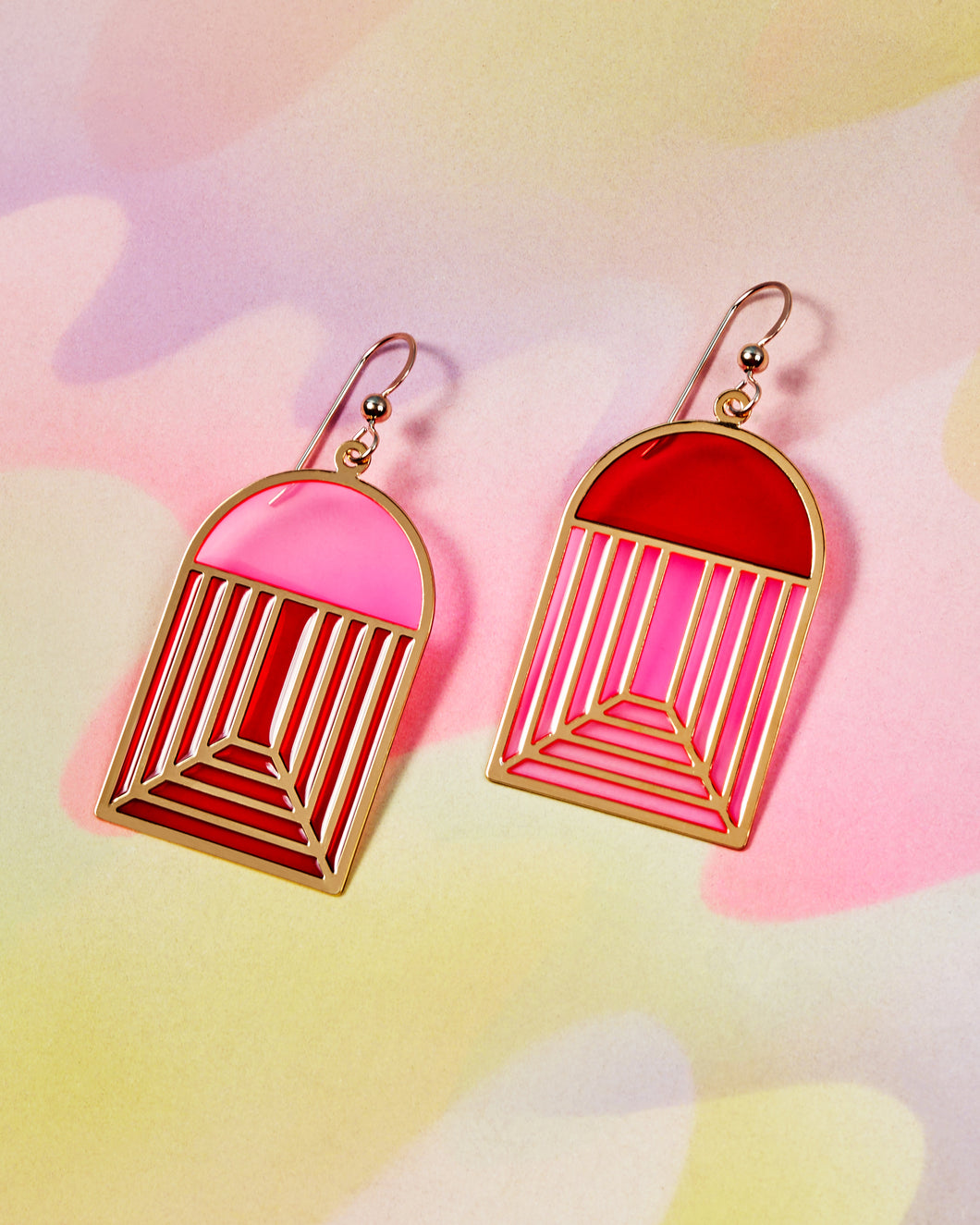 Translucent Arch Earrings - Pink & Red