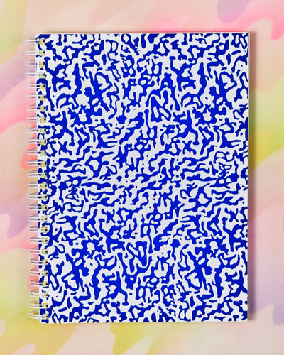 Large Blue & White Ripple Notebook