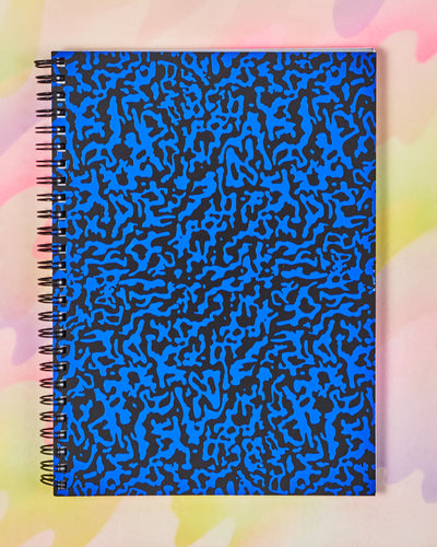 Large Blue & Black Ripple Notebook