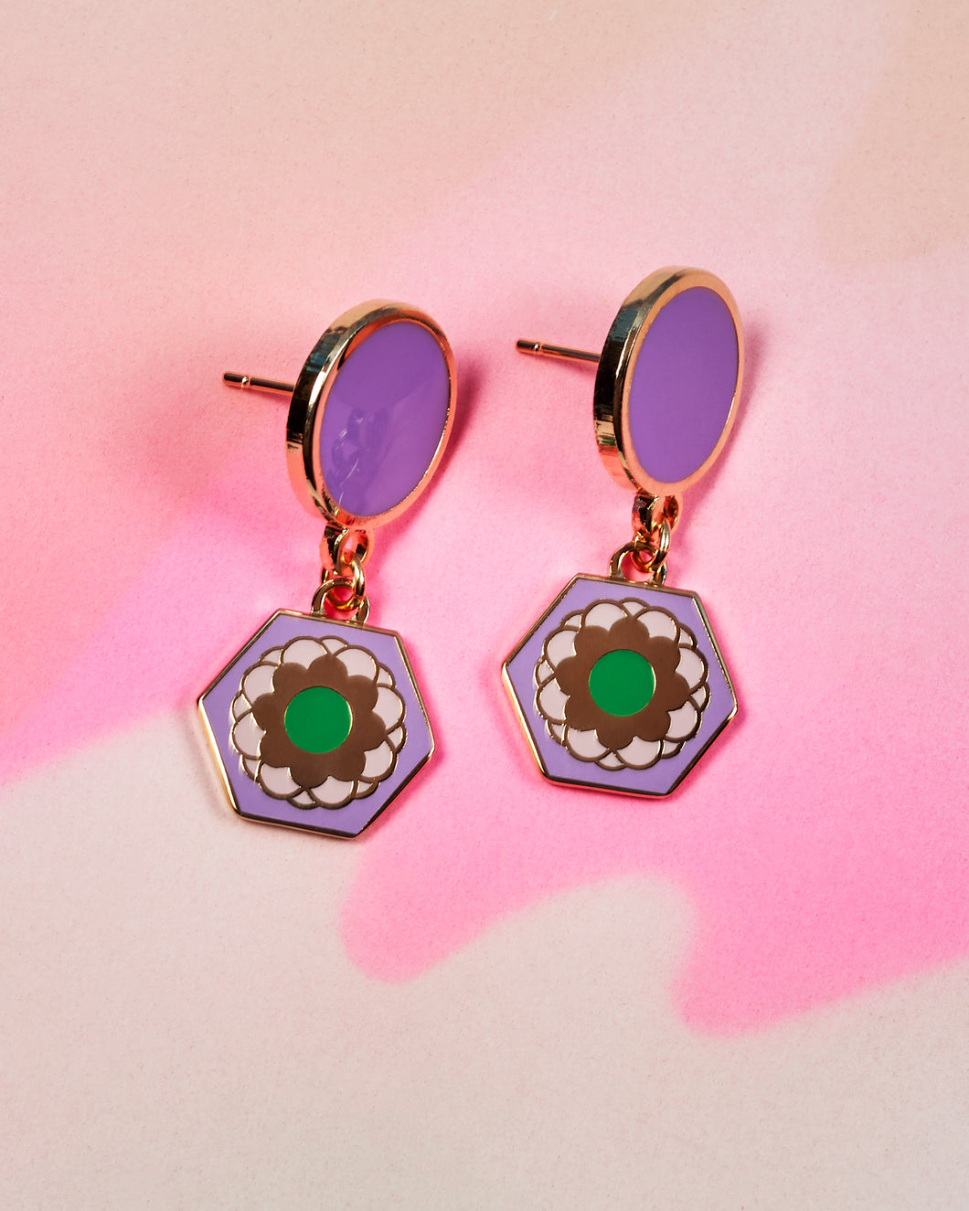 Purple Flower Tile Earrings - Purple Studs