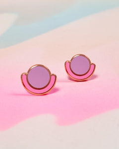 Circle Cradle Earrings - Pink & Lilac