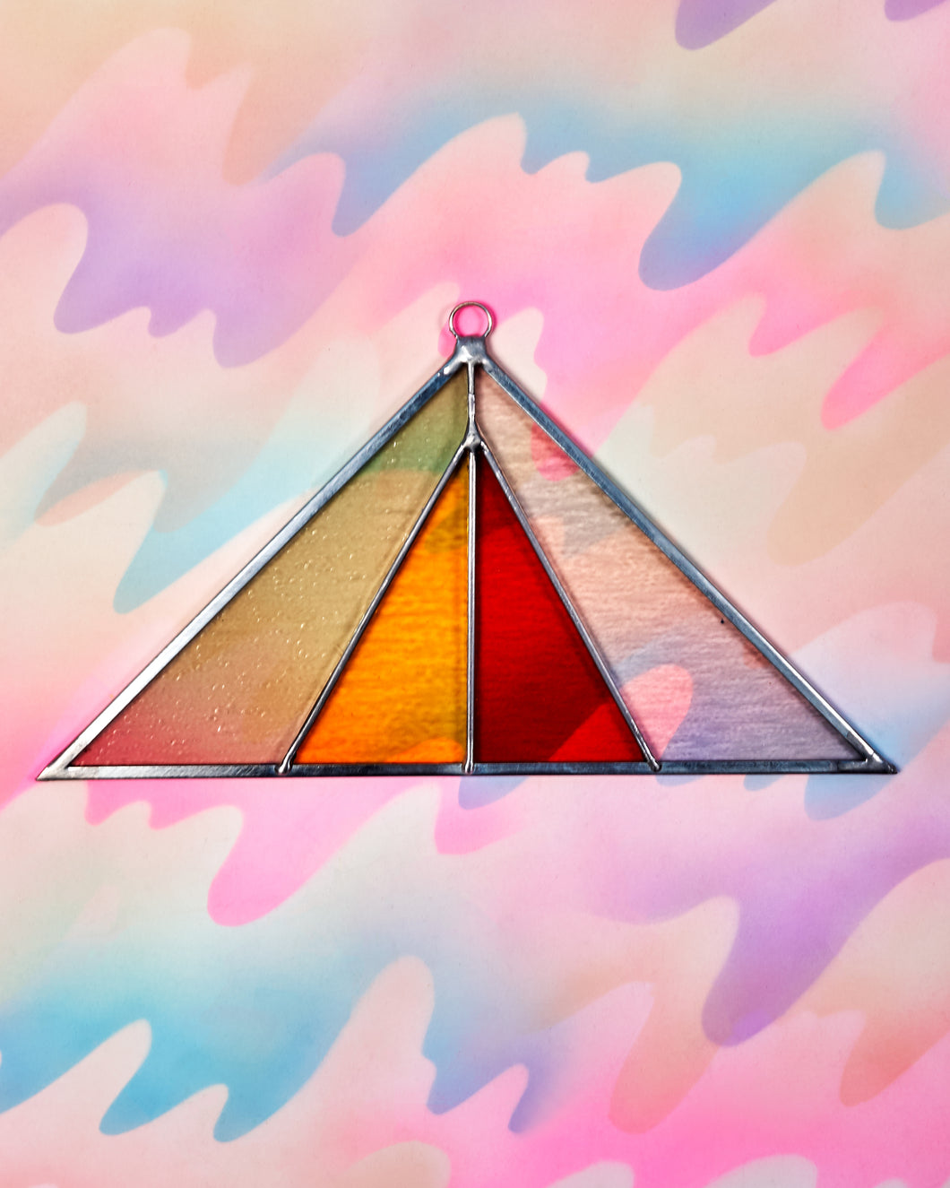 Triangle Stained Glass Suncatcher - Pink Buckwheat
