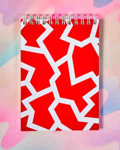 Small Red & White Fracture Notebook