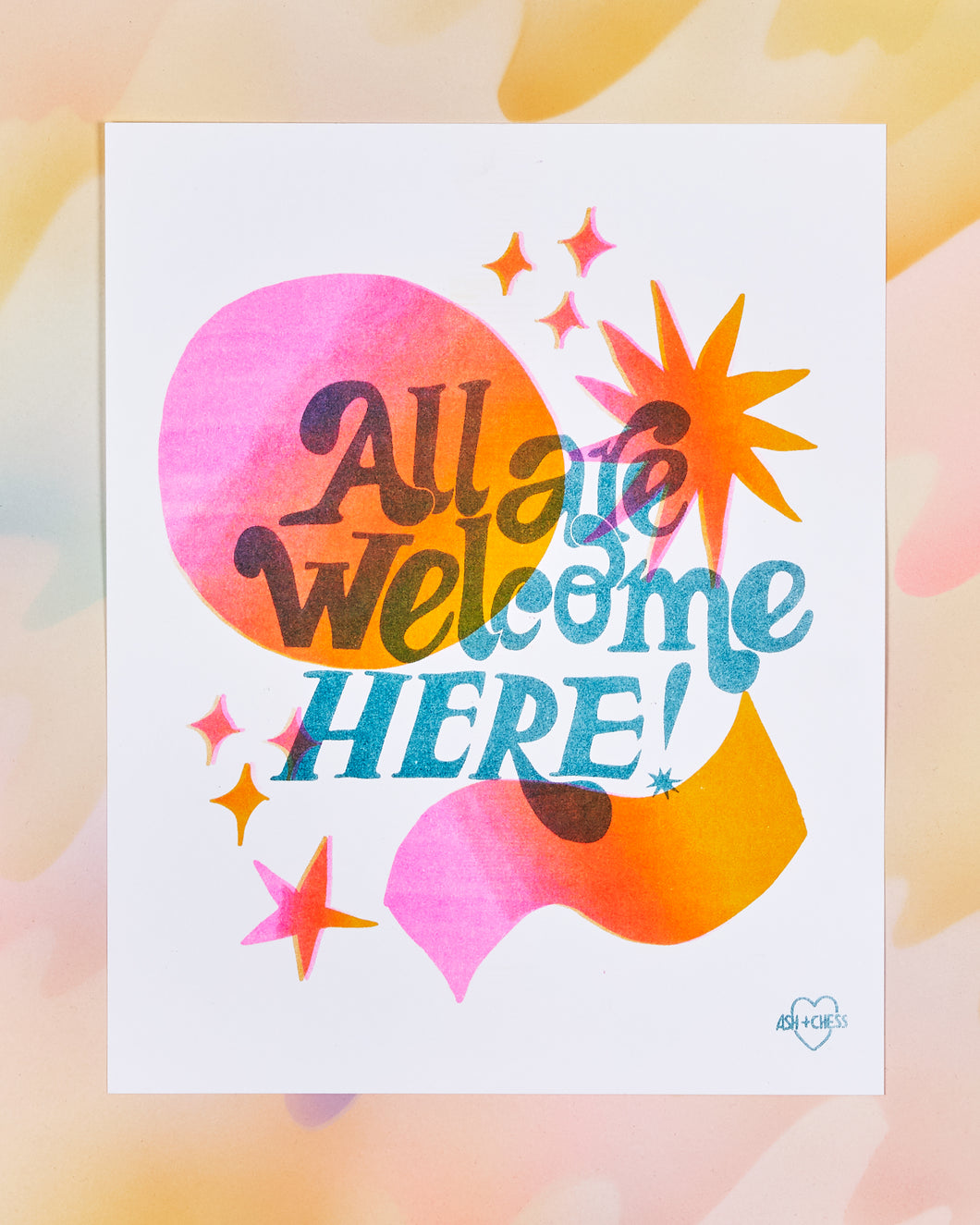 All Are Welcome Here Risograph Print