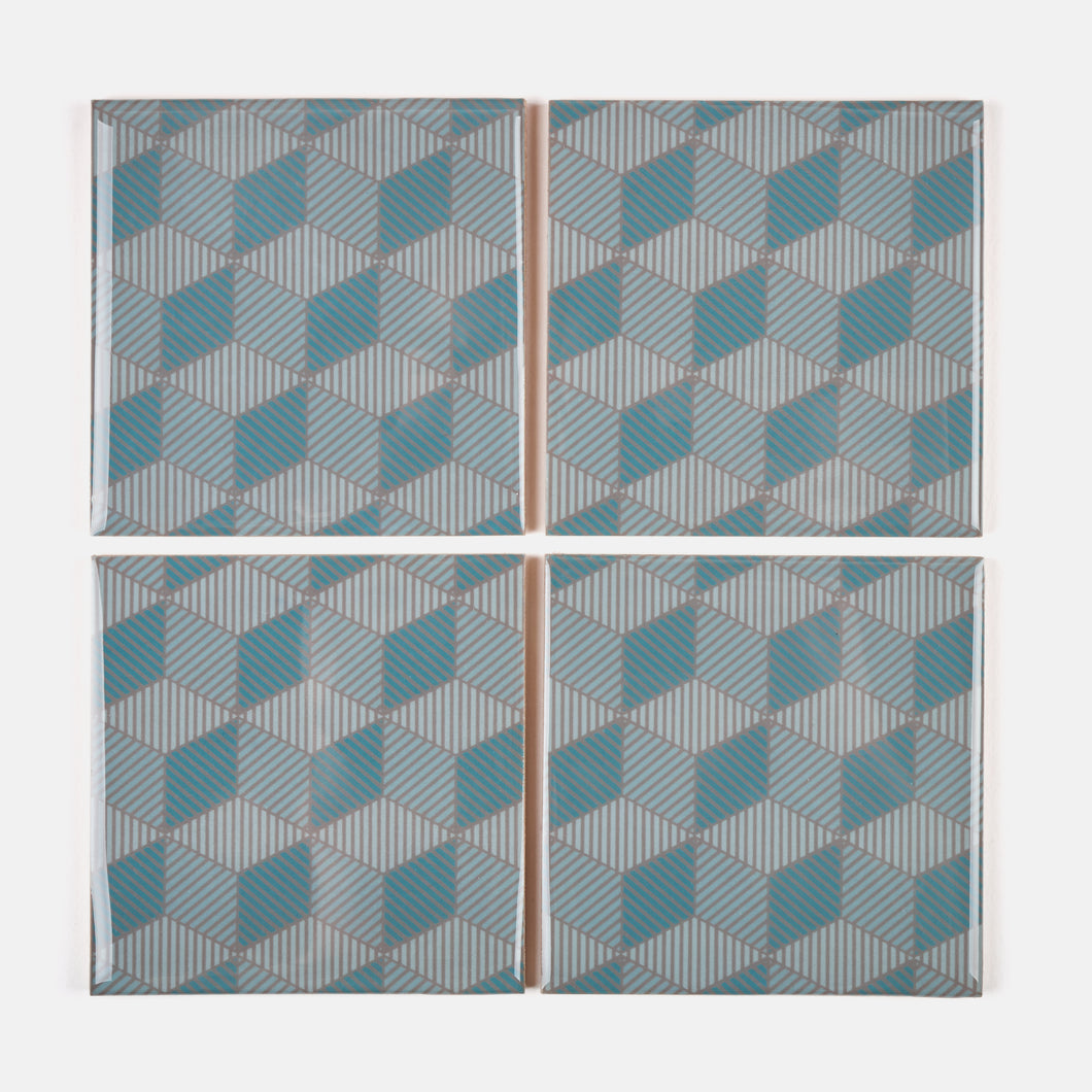 Blue Icon Coaster Set