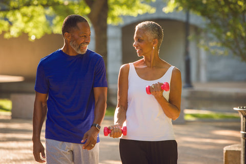 Engage at any age African-American Couple Exercising