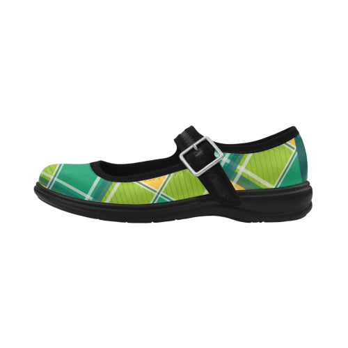 Green Check Mary Jane Women's Flat Shoes