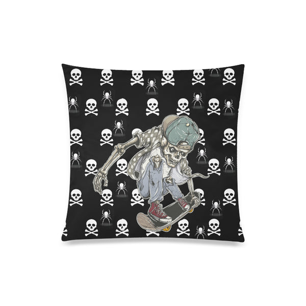 "Skateboard Skeleton Throw Pillow Cover 20""x 20"" - Swamp Kicks"