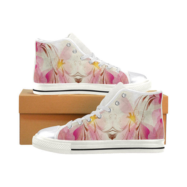 Women's Pink Flowers Aquila High Top Canvas Sneakers - Swamp Kicks