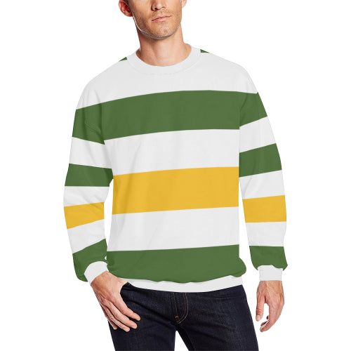 Men's Forest Green-Yellow Stripe Sweatshirt