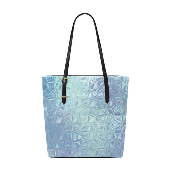 Women's Blue Waterfall Small Leather Tote Bag