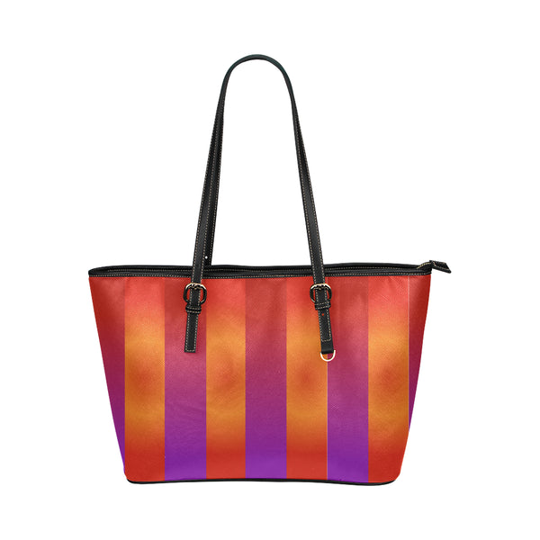Bright Stripes Small Leather Tote Bag