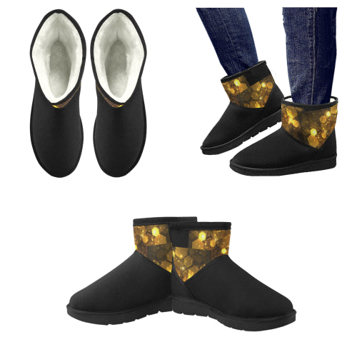 Men's Black & Gold Low Top Snow Boots