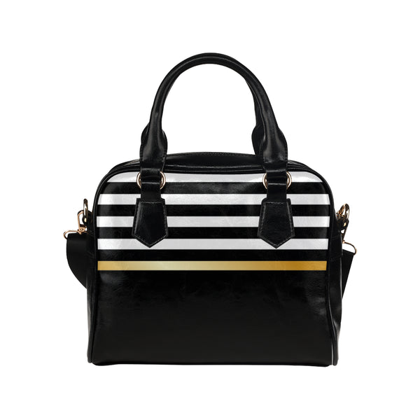 Black Stripe Shoulder Handbag