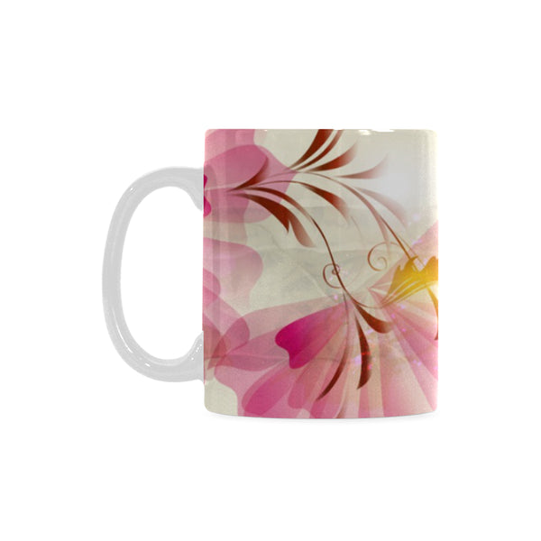 Pink Flowers Classic White Coffee Mug 11 oz. - Swamp Kicks