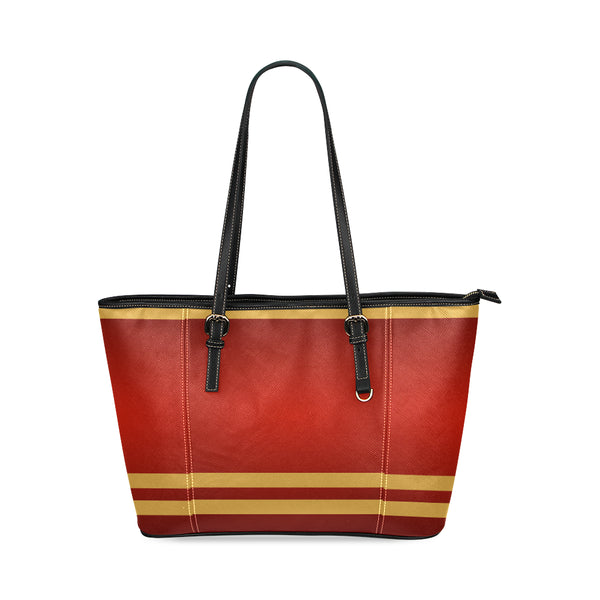 Camel Red Small Leather Tote Bag