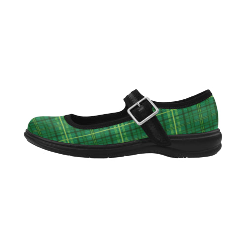 Green Plaid Mary Jane Women's Flat Shoes