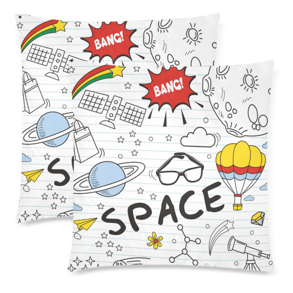 "Space Kids Square Throw Pillow Covers 18""x 18"" (Set of 2) - Swamp Kicks"