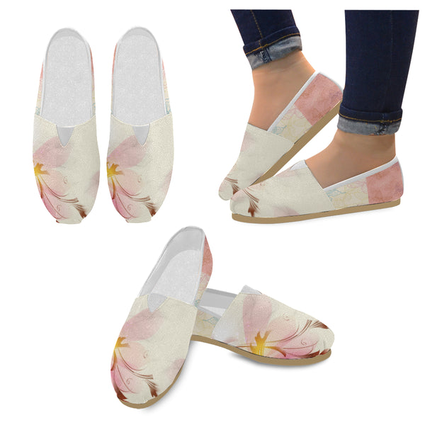 Women's Pink Flower Casual Slip-Ons - Swamp Kicks