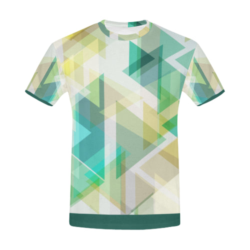 Men's Short-Sleeve Green Abstract Print T-Shirt - USA Sizes