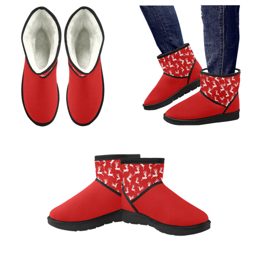 Women's Red Reindeer Low Top Snow Boots