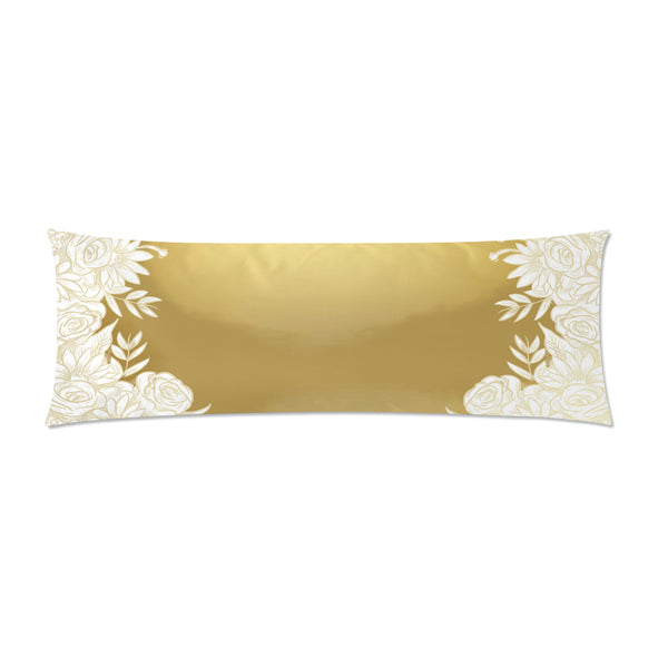 "Gold Flowers Body Pillow Cover 21""x 60"" - Swamp Kicks"