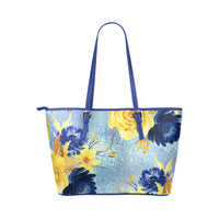 Blue Melody Blue Flowers Small Leather Shoulder Strap Tote Bag