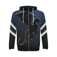 Dark Blue Black Dragon Hoodie Full Zip Hoodie - Swamp Kicks