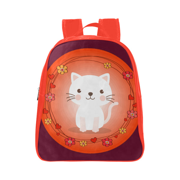 Pretty Kitty Backpack Small Leather School Bag Backpack