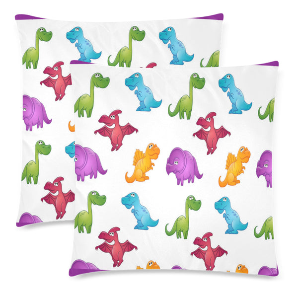 "Dinosaurs Throw Pillow Covers 18""x 18"" (Set of 2) - Swamp Kicks"