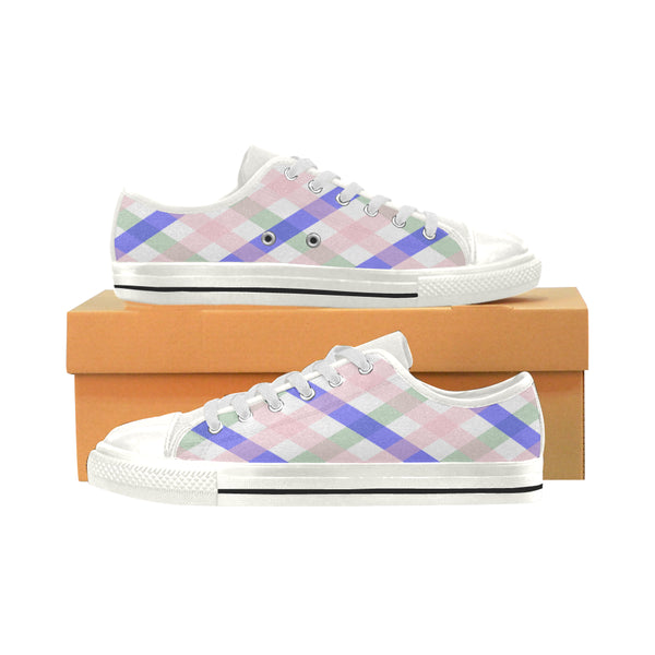 Women's Aquila Blue & Pink Check Canvas Sneakers - Swamp Kicks