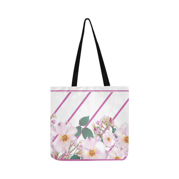 White Garden Flowers Small Lightweight Shopping Tote Bag