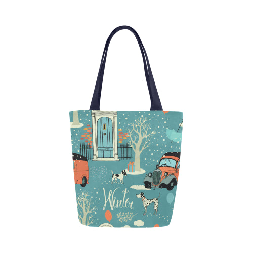 Blue Winter Canvas Shopping Tote Bag