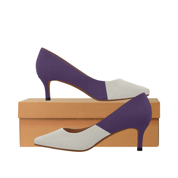 Dove Gray and Purple Women's 2-inch Low Heel Pumps