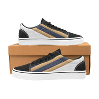 Men's Navy Blue Low Gold Trim Lace-Up Canvas Shoes